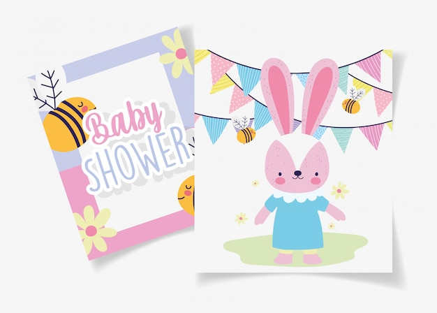 Female rabbit with dress bees garland baby shower card Premium Vector