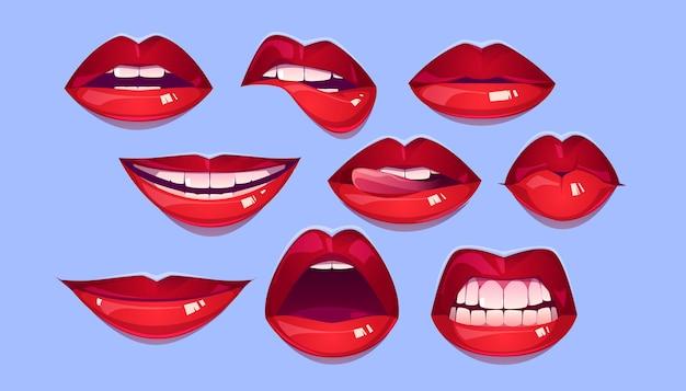 여성 붉은 입술 세트 무료 벡터