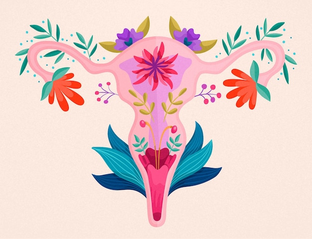 여성 생식기 꽃 무늬 디자인 무료 벡터