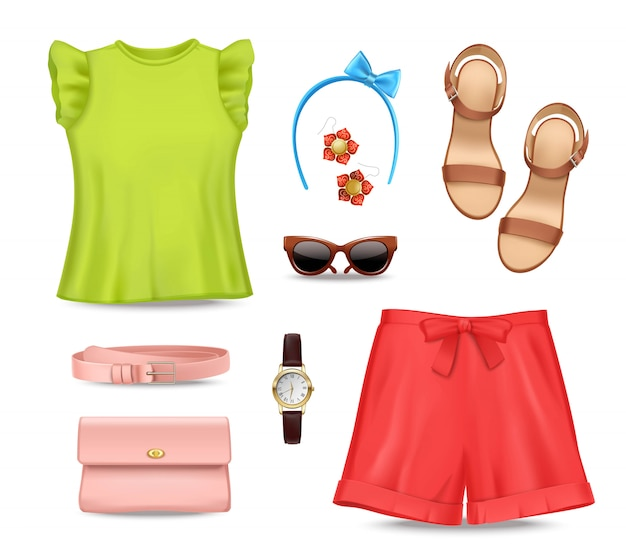 Female romantic colorful summer clothing and accessories set Free Vector