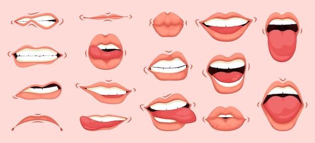 Женский рот для выражения различных эмоциональных состояний. Premium векторы