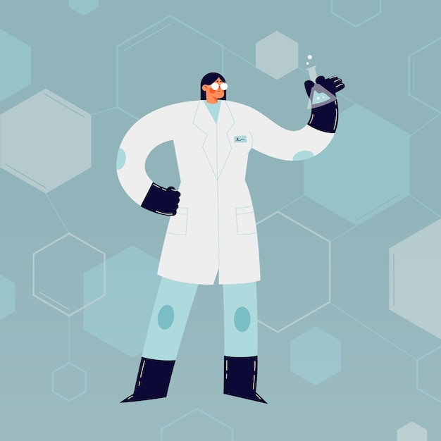 Female scientist character Free Vector