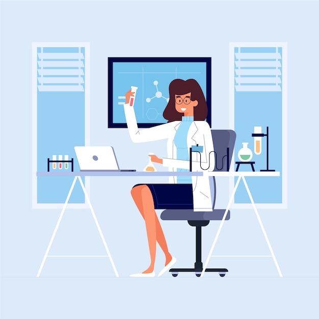 Female scientist concept illustration Free Vector