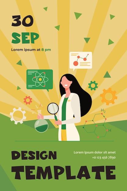 돋보기와 화학 플라스크, 백그라운드에서 분자 모델을 들고 실험실에서 과학적 연구를하는 여성 과학자. 플라이어 템플릿 무료 벡터