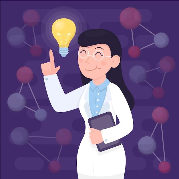 Female scientist having an idea illustrated Free Vector