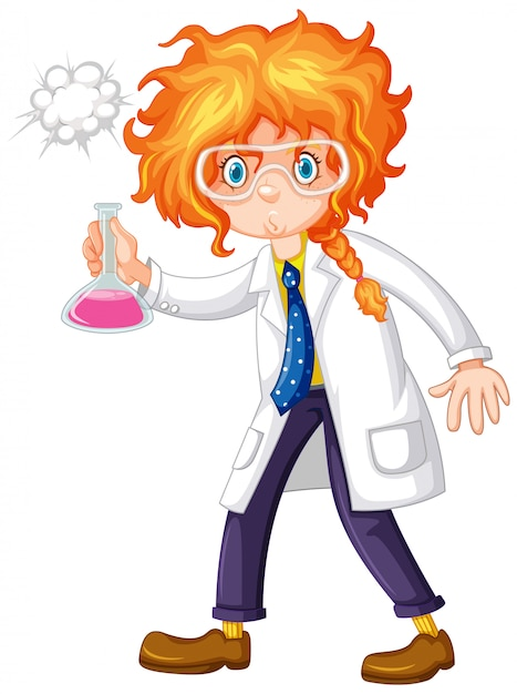Female scientist holding chemical in hand Free Vector