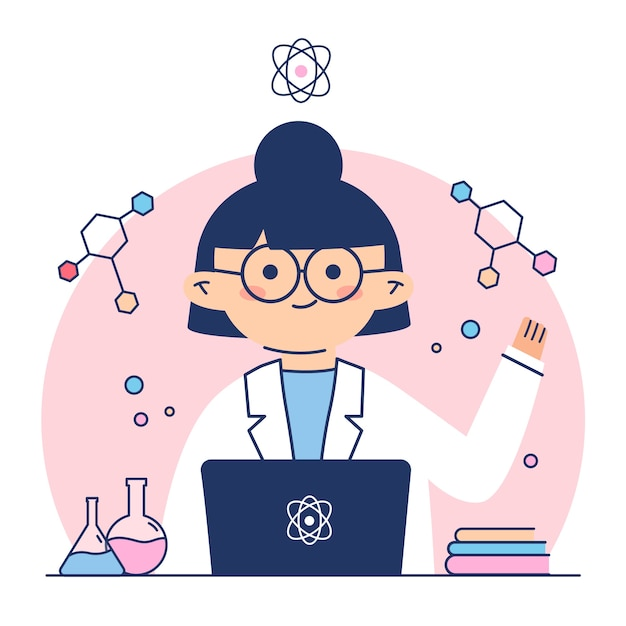Female scientist surrounded by formulas Free Vector