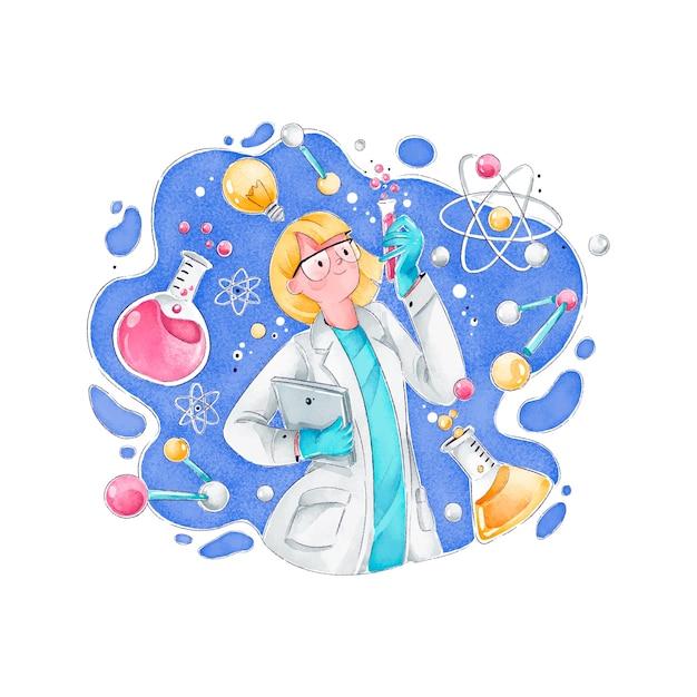 Женщина-ученый с атомами и формулами Бесплатные векторы