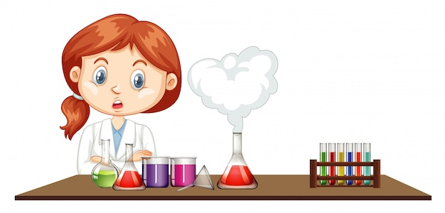 Female scientist working in the lab Free Vector