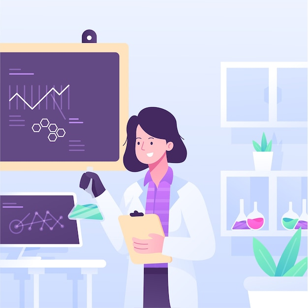 Female scientist working in a lab Free Vector