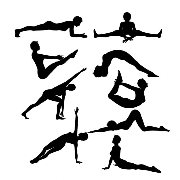 Female silhouettes in yoga poses Free Vector