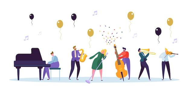 Певица и образ концерта джаз-бэнда. характер музыканта с музыкальным инструментом контрабас саксофон фортепиано скрипка труба. весело празднование шоу концепции плоский мультфильм векторные иллюстрации Premium векторы