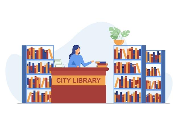 Женский улыбающийся библиотекарь, стоящий у прилавка. книга, полка, бумажная плоская векторная иллюстрация. городская библиотека и знания Бесплатные векторы