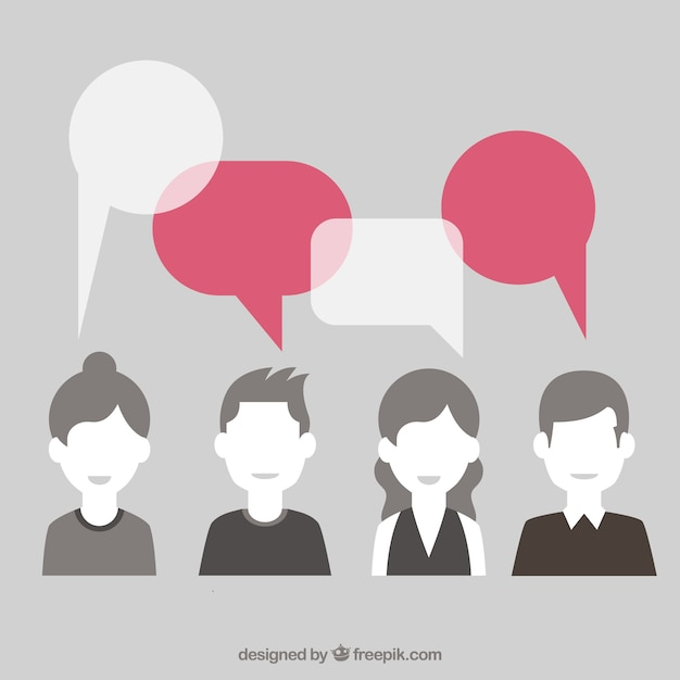 Female social chat bubbles vector Free Vector