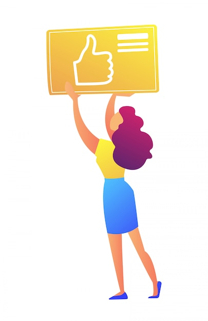 Female social media manager holding thumb up icon vector illustration. Premium Vector