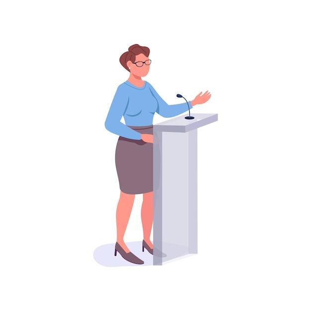 Female speaker flat color faceless character. motivational mentor Premium Vector