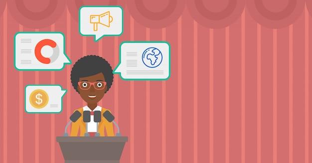 Female speaker on the podium vector illustration. Premium Vector