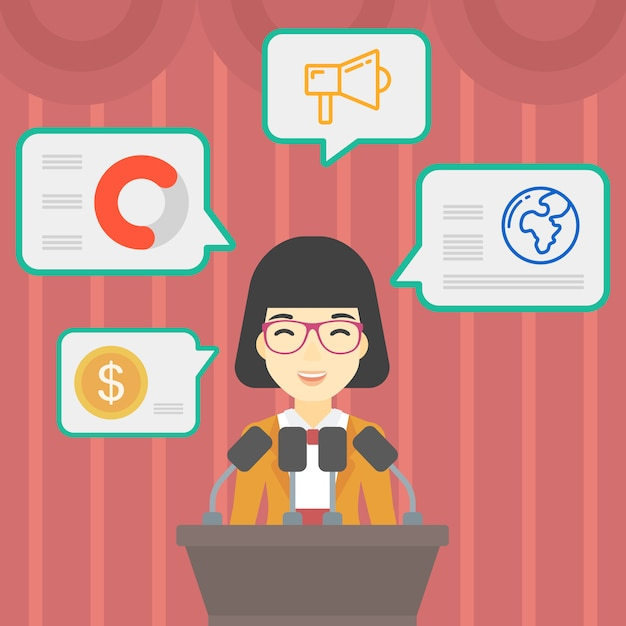 Female speaker on the podium Premium Vector