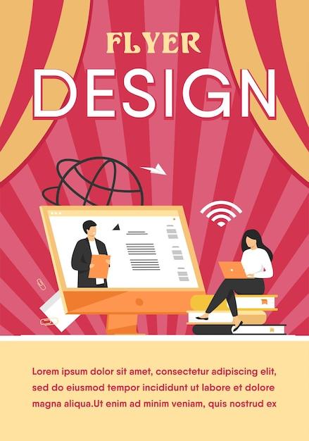 Modello di volantino piatto online di ascolto webinar femminile studentessa Vettore gratuito