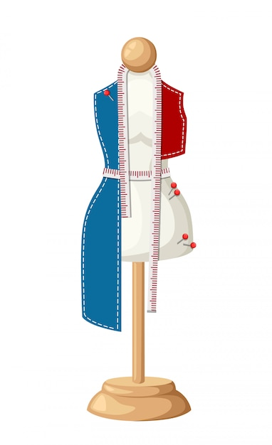 Female tailors dummy work in progress non-sewn clothing tool for handicrafts sewing pin and measuring tape  illustration  on white background web site page and mobile app Premium Vector
