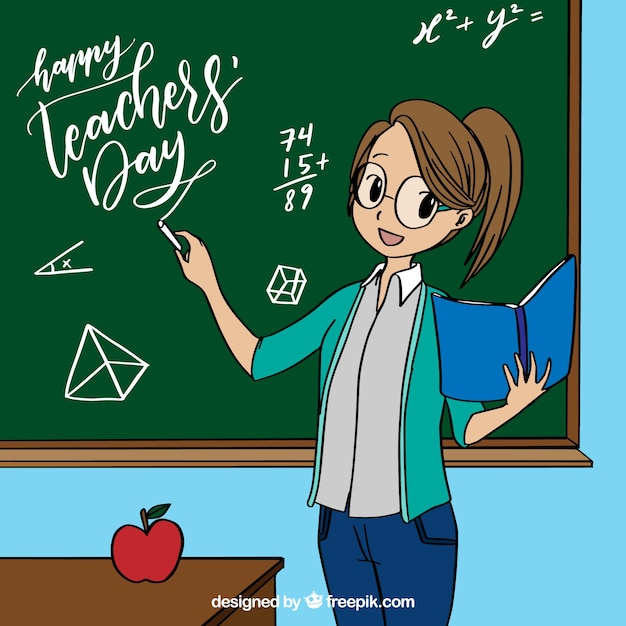 Female teacher by the chalkboard in anime\ style
