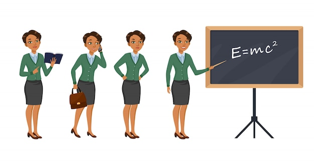 Female teacher character set with different poses, emotions Free Vector