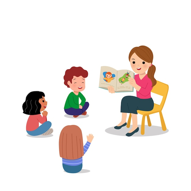Учительница делает рассказы детям детского сада. групповая деятельность в школе или детском саду. всемирный день учителя. на белом. Premium векторы