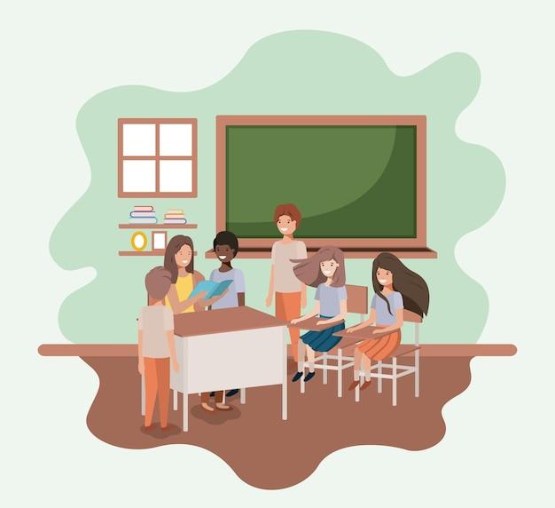Женский учитель в классе со студентами дизайн векторной иллюстрации Premium векторы
