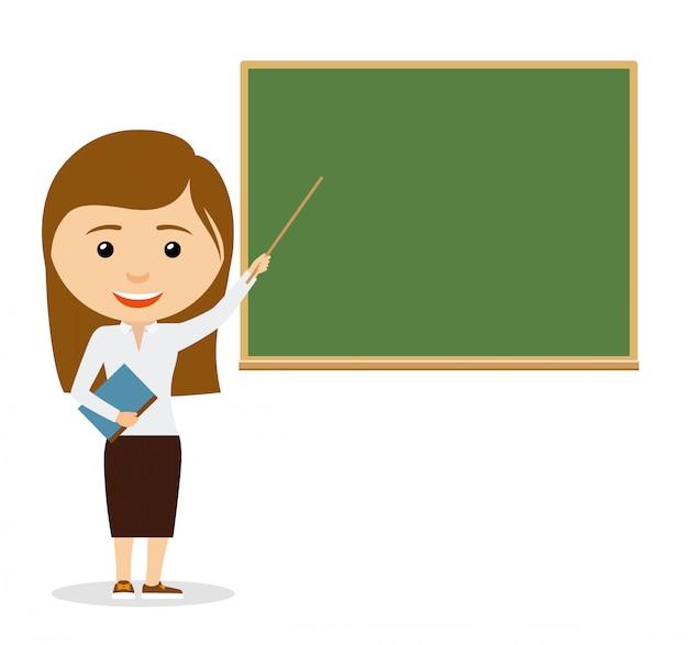 Female teacher on lesson at the chalkboard Premium Vector