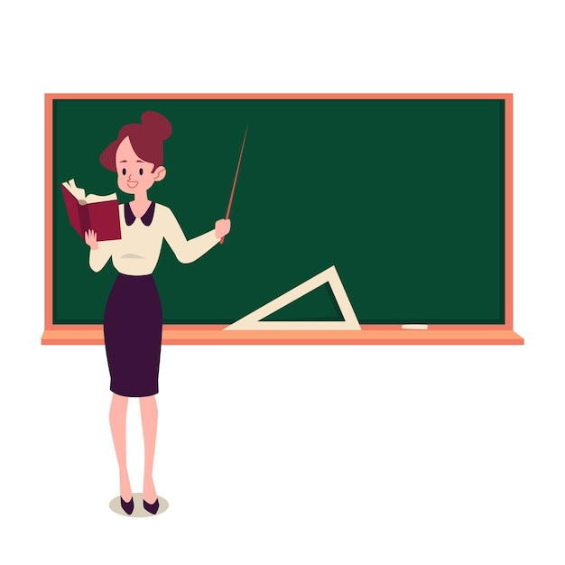 Female teacher stands at blackboard holding book and pointer Premium Vector