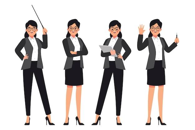 生徒を指導する準備ができている女性教師 Premiumベクター