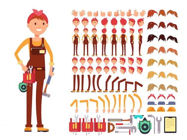 Female technician cartoon vector character. woman mechanic in jumpsuit creation constructor with bod Premium Vector