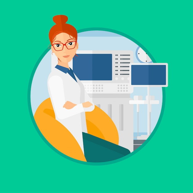 Female ultrasound doctor. Premium Vector