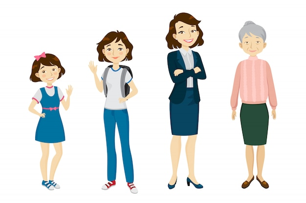 Female of various age character set Free Vector