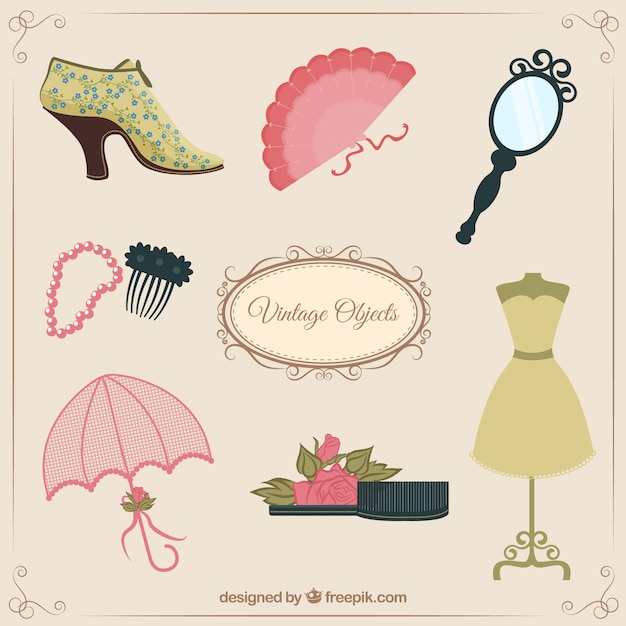 Female vintage objects vector premium download - Objetos de decoracion vintage ...