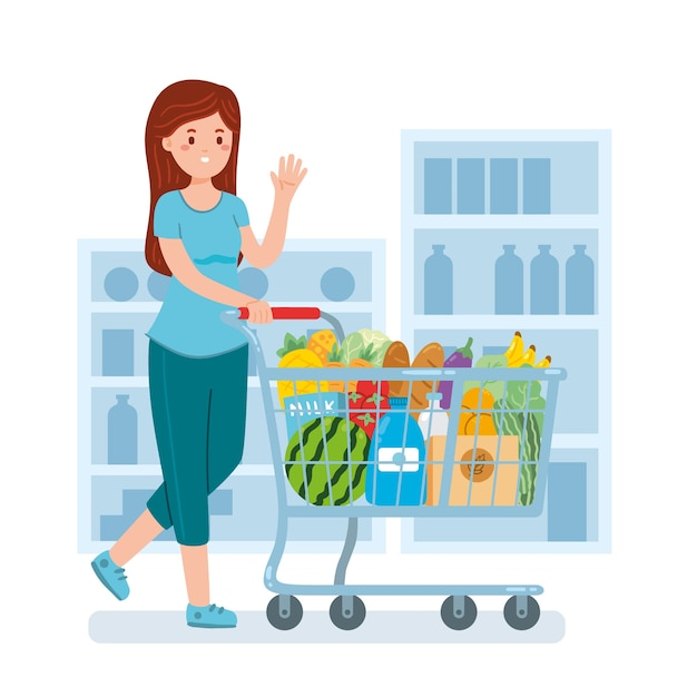 Female with products in grocery store Free Vector