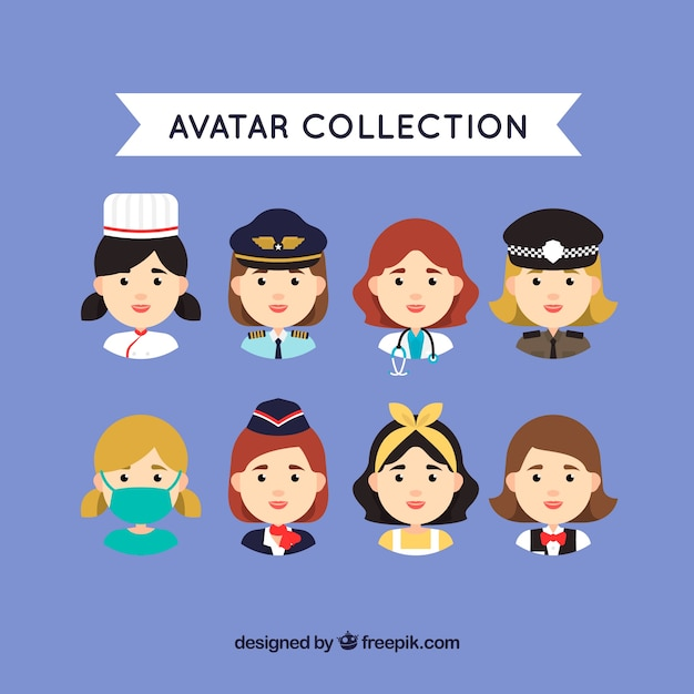 Female worker avatar collection Free Vector