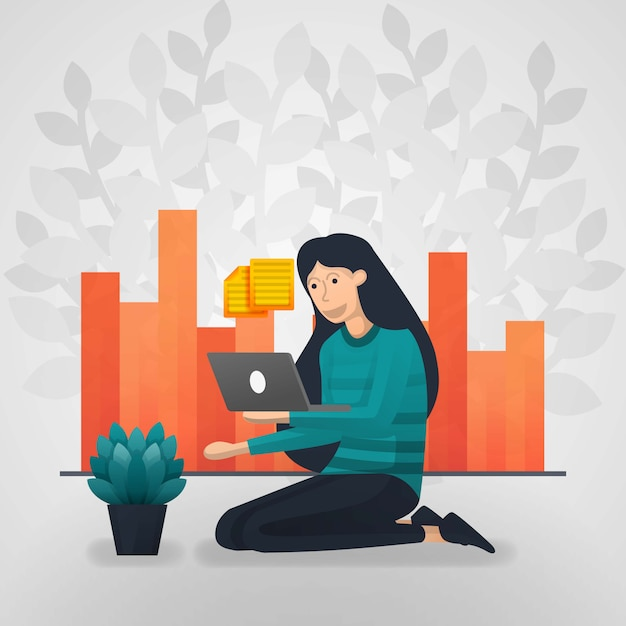Female workers check documents on laptops. sales report chart. Premium Vector