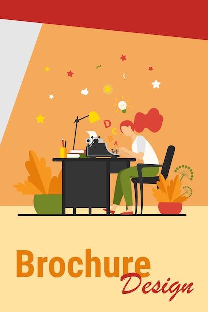 Scrittore femminile utilizzando la retro macchina da scrivere. giovane donna che ispira con l'idea, scrivendo un articolo creativo sul suo posto di lavoro. illustrazione vettoriale per crisi creativa, copywriting, concetto vintage Vettore gratuito