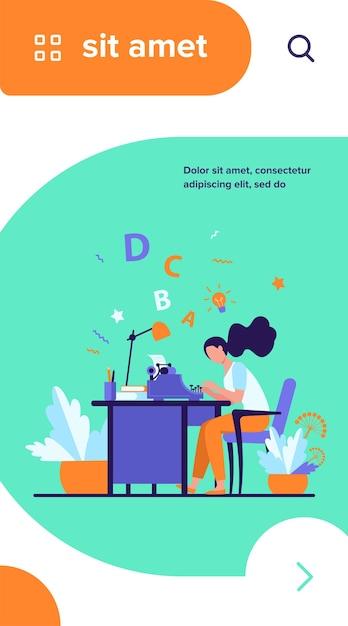 Scrittore femminile utilizzando la retro macchina da scrivere Vettore gratuito