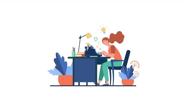 Female writer using retro typing machine Free Vector
