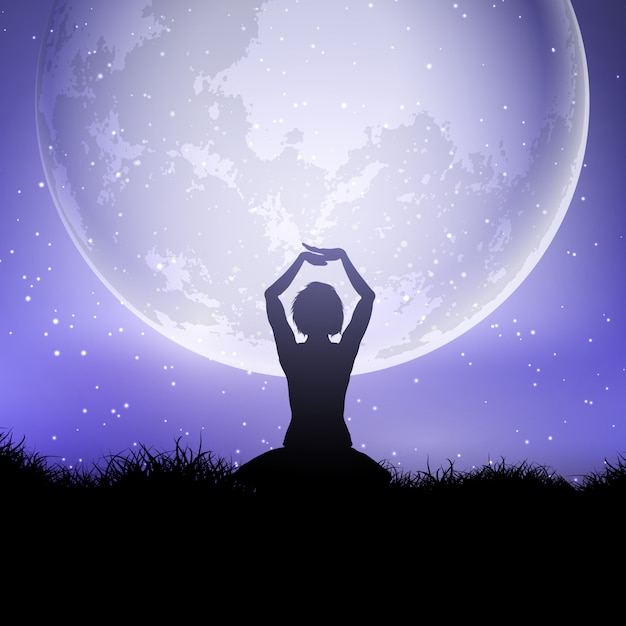 Female in yoga pose against a moonlit sky Free Vector