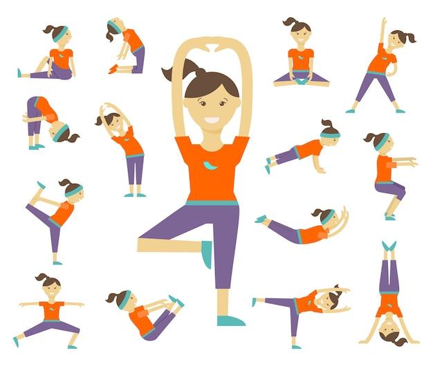 女性のヨガのポーズ。女の子と運動、健康的なライフスタイル、バランスのとれた位置、体の女性、 無料ベクター