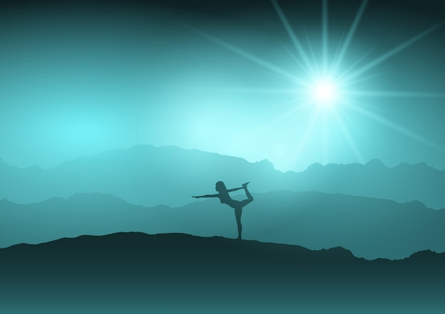Female in yoga position in landscape Free Vector