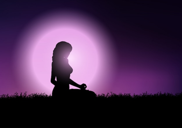 Female in yoga position in sunset sky Free Vector