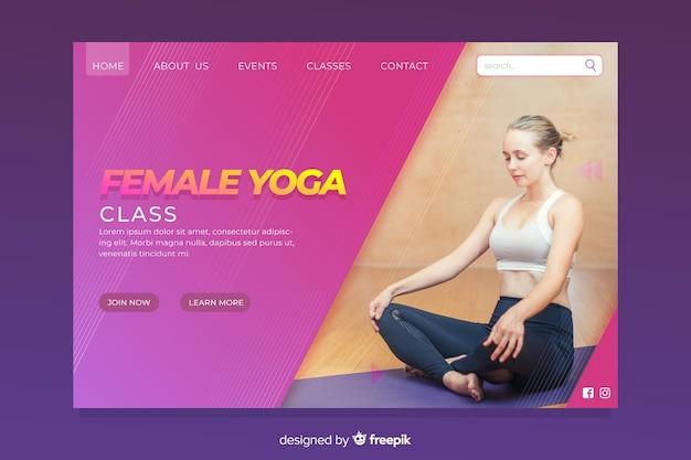 Female yoga sport landing page Free Vector