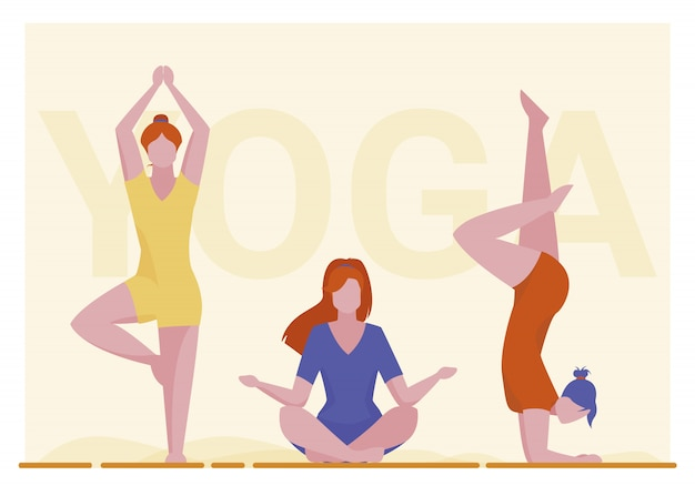 Female yogi group Free Vector