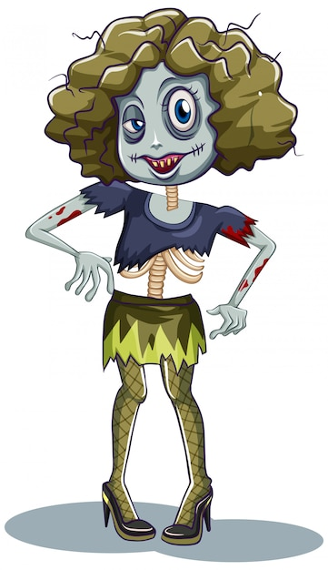 A female zombie character Free Vector