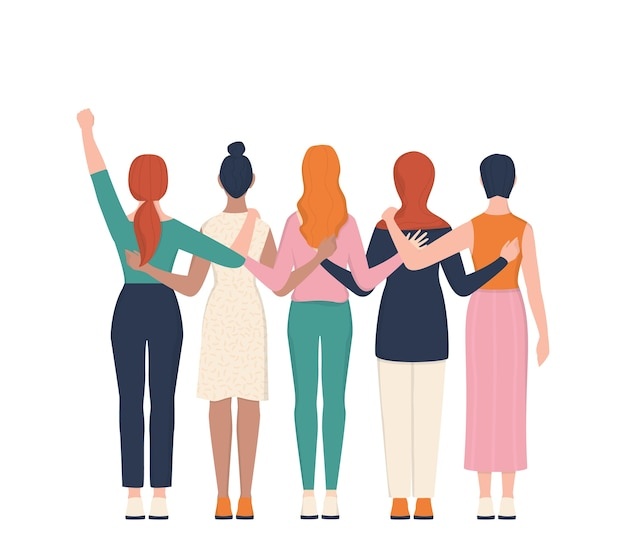 Femenism and girl power concept. idea of gender equality and female movement. women group hugging together. female character support each other card or banner. Premium Vector