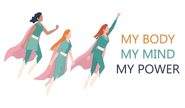 Femenism and girl power concept. superwomen team. idea of gender equality and female movement. women support organization website banner. Premium Vector